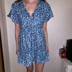 Blue Floral Baby Doll Mini Dress